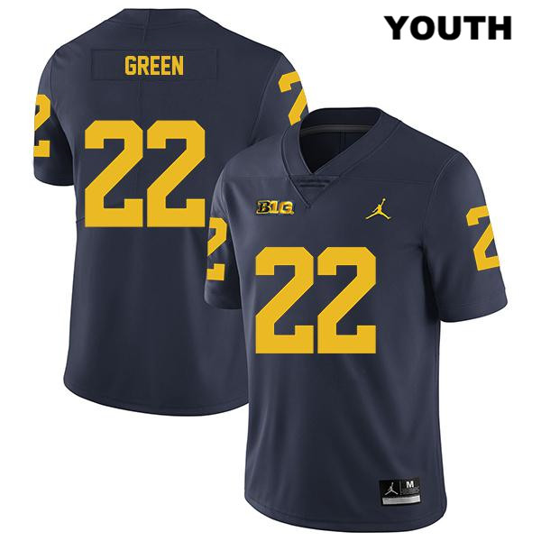 Michigan Wolverines Gemon Green Legend Youth no. 22 Jordan Navy Stitched Authentic College Football Jersey - Gemon Green Jersey