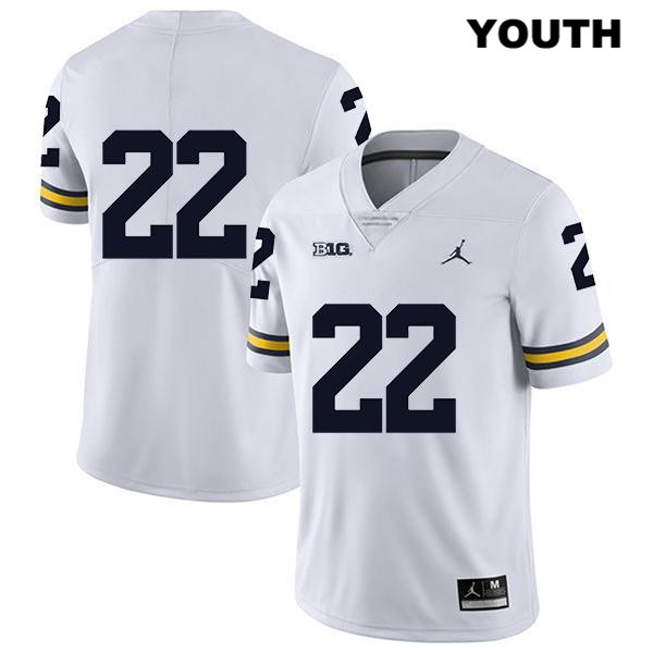Michigan Wolverines Stitched Gemon Green Youth Jordan no. 22 White Legend Authentic College Football Jersey - No Name - Gemon Green Jersey