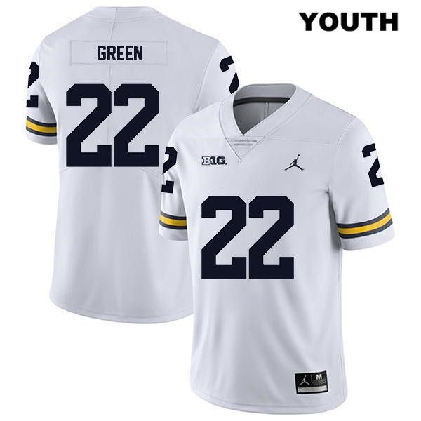 Legend Michigan Wolverines Gemon Green Youth Jordan no. 22 White Stitched Authentic College Football Jersey - Gemon Green Jersey