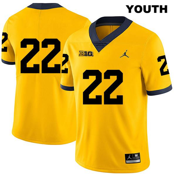 Michigan Wolverines Gemon Green Legend Youth no. 22 Yellow Jordan Stitched Authentic College Football Jersey - No Name - Gemon Green Jersey