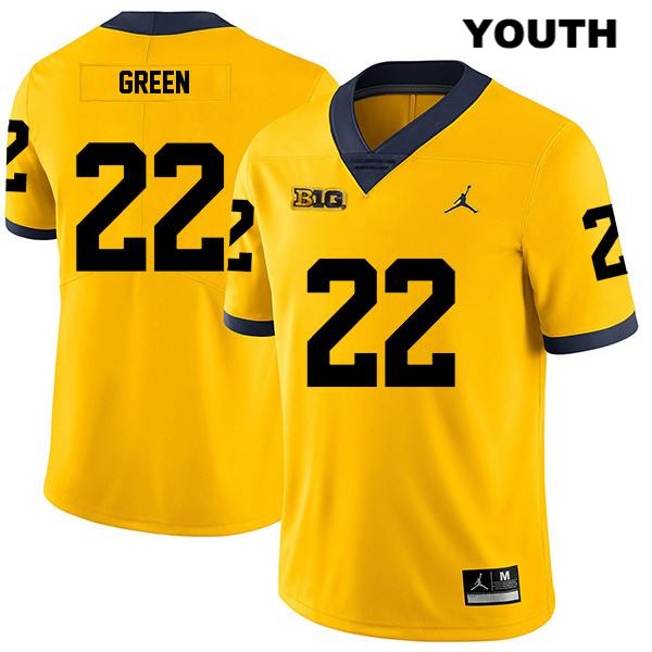 Michigan Wolverines Jordan Gemon Green Youth Stitched no. 22 Legend Yellow Authentic College Football Jersey - Gemon Green Jersey