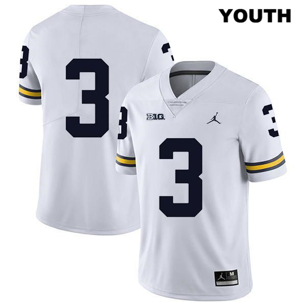 Michigan Wolverines Jalen Perry Legend Youth Jordan no. 3 Stitched White Authentic College Football Jersey - No Name - Jalen Perry Jersey