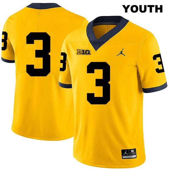 Michigan Wolverines Jalen Perry Youth Legend no. 3 Jordan Yellow Stitched Authentic College Football Jersey - No Name - Jalen Perry Jersey