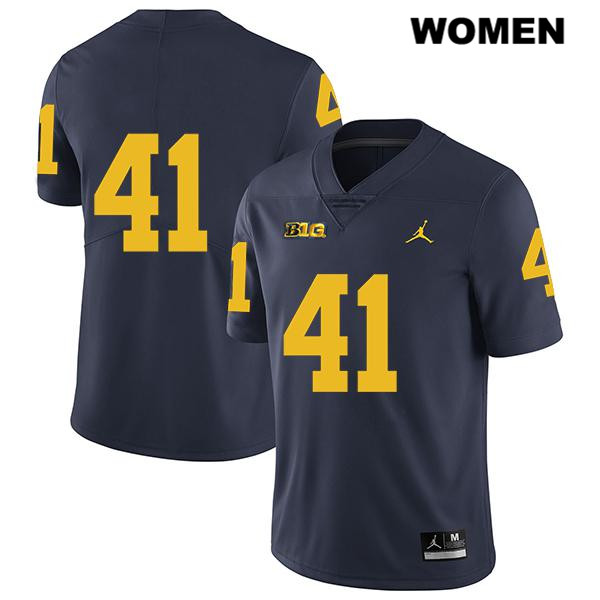 Michigan Wolverines John Baty Stitched Jordan Womens no. 41 Legend Navy Authentic College Football Jersey - No Name - John Baty Jersey