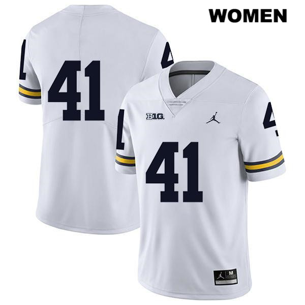 Legend Michigan Wolverines Jordan John Baty Stitched Womens no. 41 White Authentic College Football Jersey - No Name - John Baty Jersey