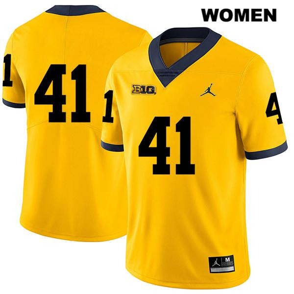 Michigan Wolverines John Baty Womens Legend no. 41 Jordan Yellow Stitched Authentic College Football Jersey - No Name - John Baty Jersey