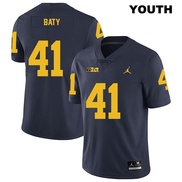 Michigan Wolverines Jordan John Baty Stitched Youth no. 41 Navy Legend Authentic College Football Jersey - John Baty Jersey