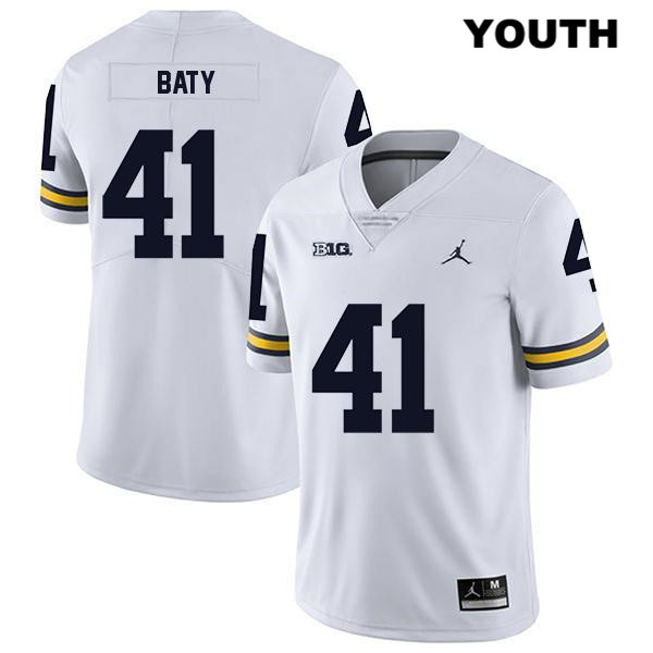Michigan Wolverines John Baty Jordan Stitched Youth Legend no. 41 White Authentic College Football Jersey - John Baty Jersey