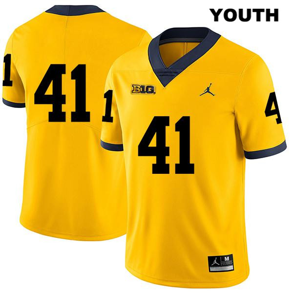 Michigan Wolverines Legend John Baty Youth Jordan Stitched no. 41 Yellow Authentic College Football Jersey - No Name - John Baty Jersey