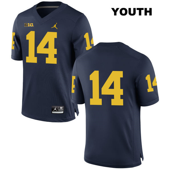 Michigan Wolverines Josh Metellus Youth Stitched no. 14 Navy Jordan Authentic College Football Jersey - No Name - Josh Metellus Jersey