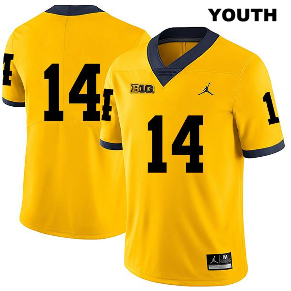 Legend Michigan Wolverines Josh Metellus Youth no. 14 Yellow Jordan Stitched Authentic College Football Jersey - No Name - Josh Metellus Jersey