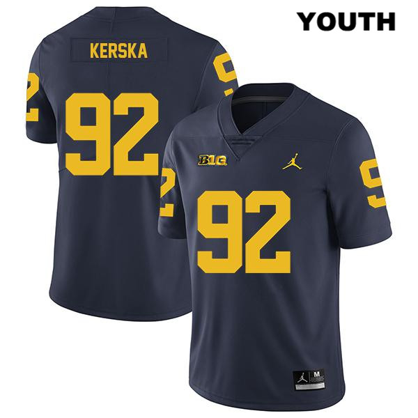 Michigan Wolverines Karl Kerska Youth Stitched no. 92 Navy Jordan Legend Authentic College Football Jersey - Karl Kerska Jersey