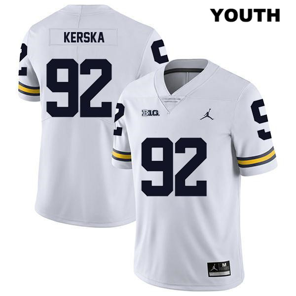 Michigan Wolverines Legend Karl Kerska Youth no. 92 Stitched White Jordan Authentic College Football Jersey - Karl Kerska Jersey