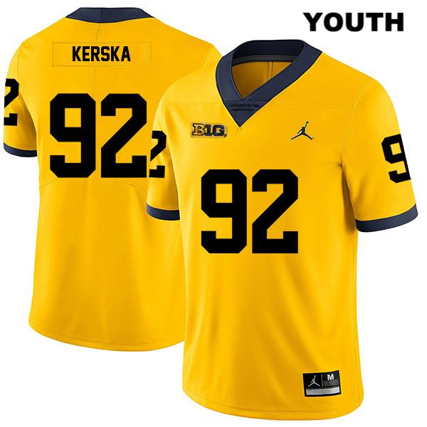 Michigan Wolverines Legend Karl Kerska Youth no. 92 Yellow Jordan Stitched Authentic College Football Jersey - Karl Kerska Jersey
