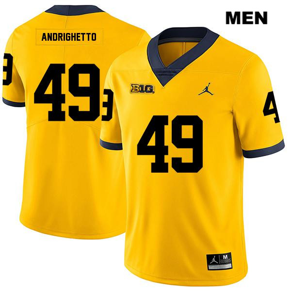 Michigan Wolverines Lucas Andrighetto Mens no. 49 Legend Stitched Yellow Jordan Authentic College Football Jersey