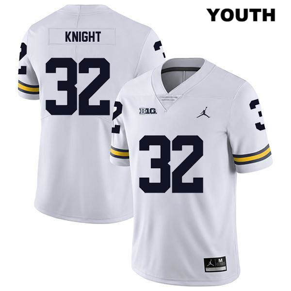 Michigan Wolverines Legend Stitched Nolan Knight Jordan Youth no. 32 White Authentic College Football Jersey
