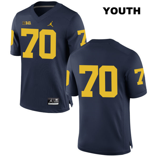 Michigan Wolverines Nolan Ulizio Youth no. 70 Jordan Navy Stitched Authentic College Football Jersey - No Name - Nolan Ulizio Jersey