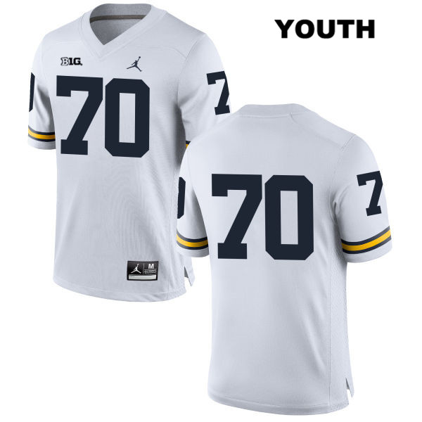 Michigan Wolverines Jordan Nolan Ulizio Youth no. 70 White Stitched Authentic College Football Jersey - No Name - Nolan Ulizio Jersey