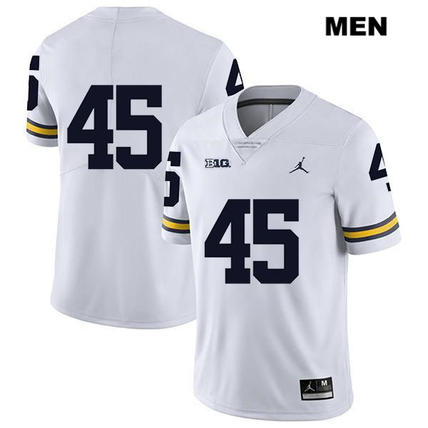 Michigan Wolverines Peter Bush Mens Legend no. 45 Stitched White Jordan Authentic College Football Jersey - No Name
