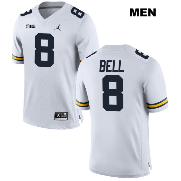 Stitched Michigan Wolverines Ronnie Bell Mens no. 8 White Jordan Authentic College Football Jersey - Ronnie Bell Jersey