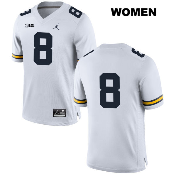 Michigan Wolverines Ronnie Bell Stitched Womens no. 8 Jordan White Authentic College Football Jersey - No Name - Ronnie Bell Jersey