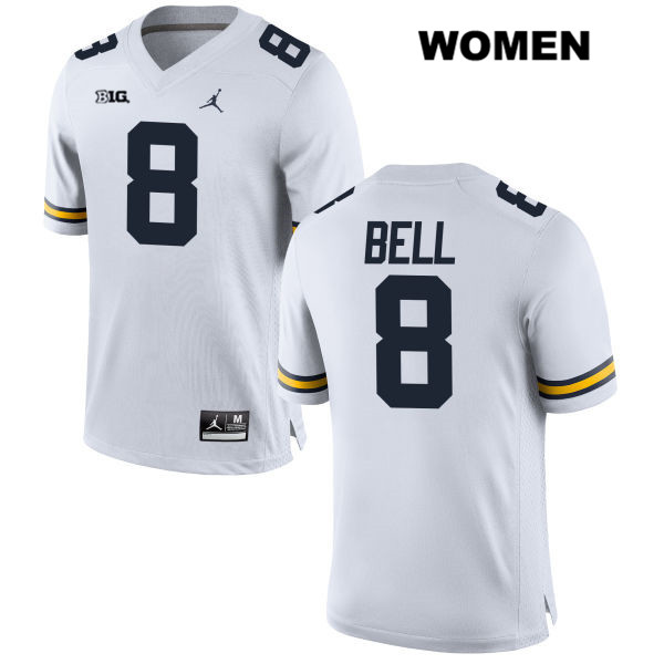 Michigan Wolverines Ronnie Bell Womens Jordan no. 8 White Stitched Authentic College Football Jersey - Ronnie Bell Jersey
