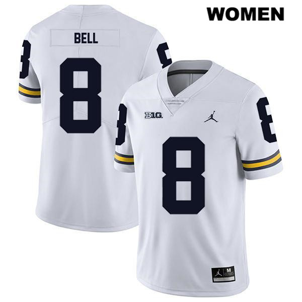 Michigan Wolverines Ronnie Bell Legend Womens Jordan no. 8 White Stitched Authentic College Football Jersey - Ronnie Bell Jersey