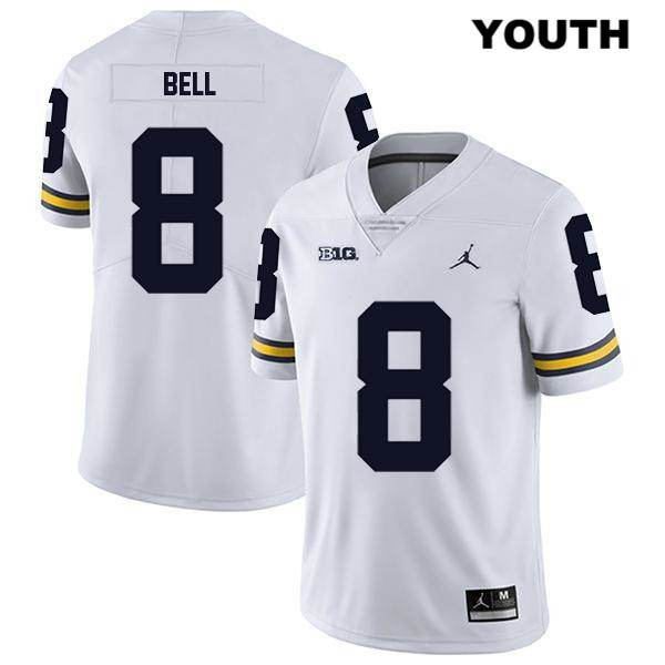 Michigan Wolverines Stitched Ronnie Bell Youth no. 8 Legend White Jordan Authentic College Football Jersey - Ronnie Bell Jersey