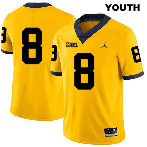 Michigan Wolverines Legend Ronnie Bell Stitched Jordan Youth no. 8 Yellow Authentic College Football Jersey - No Name - Ronnie Bell Jersey