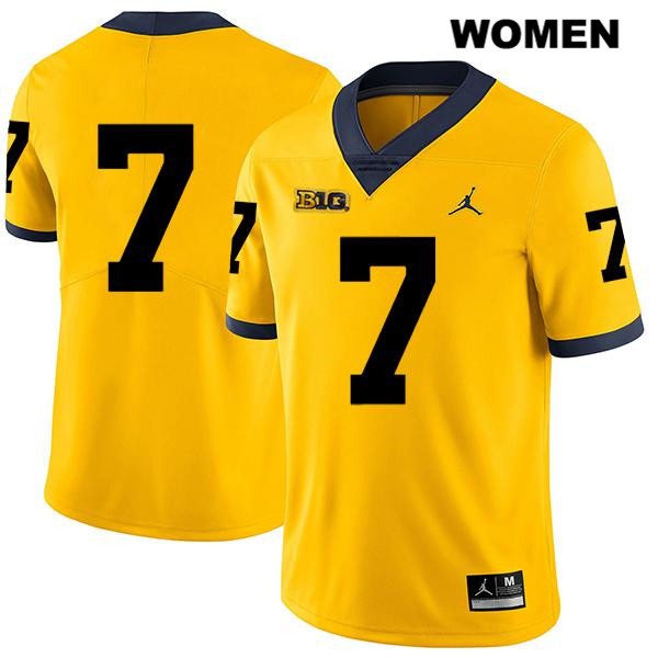 Michigan Wolverines Tarik Black Womens Legend no. 7 Jordan Yellow Stitched Authentic College Football Jersey - No Name - Tarik Black Jersey
