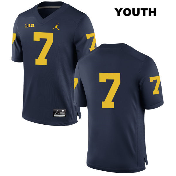 Michigan Wolverines Tarik Black Youth Jordan no. 7 Stitched Navy Authentic College Football Jersey - No Name - Tarik Black Jersey
