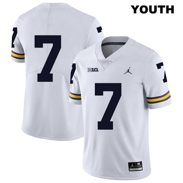 Michigan Wolverines Tarik Black Legend Youth no. 7 Stitched White Jordan Authentic College Football Jersey - No Name - Tarik Black Jersey