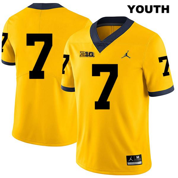 Michigan Wolverines Jordan Tarik Black Youth Stitched no. 7 Yellow Legend Authentic College Football Jersey - No Name - Tarik Black Jersey