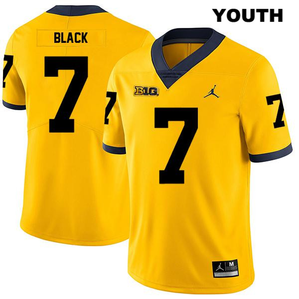 Stitched Michigan Wolverines Jordan Tarik Black Legend Youth no. 7 Yellow Authentic College Football Jersey - Tarik Black Jersey