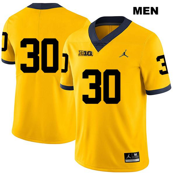 Jordan Michigan Wolverines Tyler Cochran Mens no. 30 Stitched Legend Yellow Authentic College Football Jersey - No Name - Tyler Cochran Jersey
