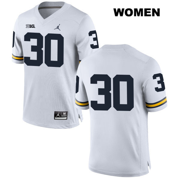 Michigan Wolverines Tyler Cochran Stitched Womens Jordan no. 30 White Authentic College Football Jersey - No Name - Tyler Cochran Jersey