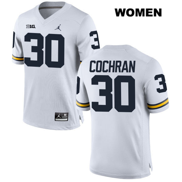 Michigan Wolverines Stitched Tyler Cochran Womens no. 30 White Jordan Authentic College Football Jersey - Tyler Cochran Jersey