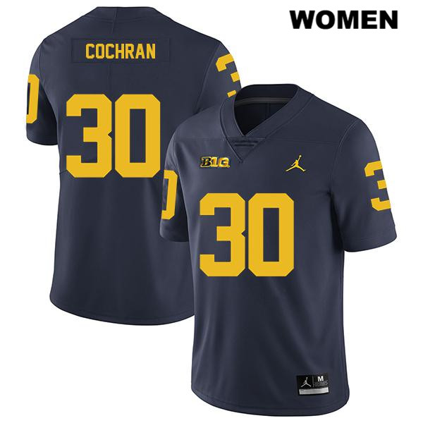 Michigan Wolverines Tyler Cochran Womens Jordan no. 30 Legend Navy Stitched Authentic College Football Jersey - Tyler Cochran Jersey