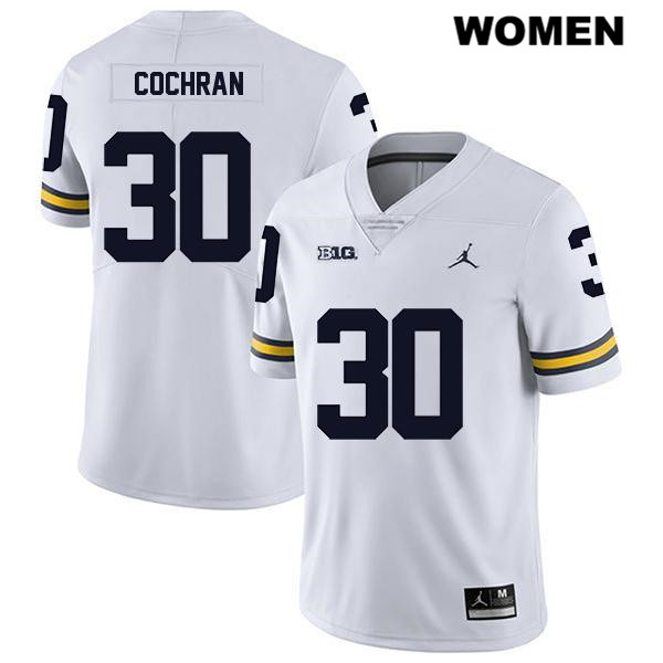 Michigan Wolverines Tyler Cochran Womens Stitched no. 30 Legend White Jordan Authentic College Football Jersey - Tyler Cochran Jersey