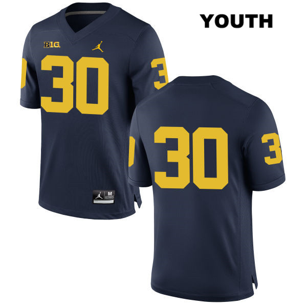 Michigan Wolverines Tyler Cochran Youth Stitched no. 30 Navy Jordan Authentic College Football Jersey - No Name - Tyler Cochran Jersey