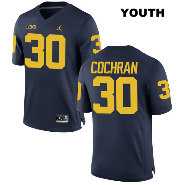 Michigan Wolverines Tyler Cochran Stitched Youth Jordan no. 30 Navy Authentic College Football Jersey - Tyler Cochran Jersey