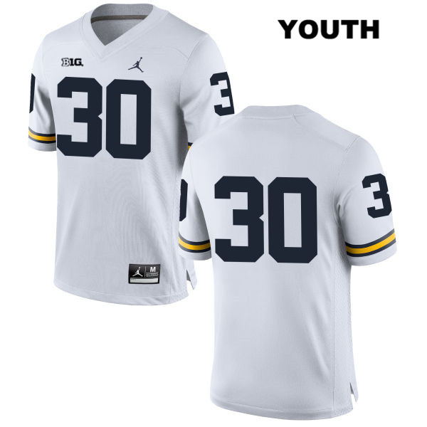 Michigan Wolverines Jordan Stitched Tyler Cochran Youth no. 30 White Authentic College Football Jersey - No Name - Tyler Cochran Jersey