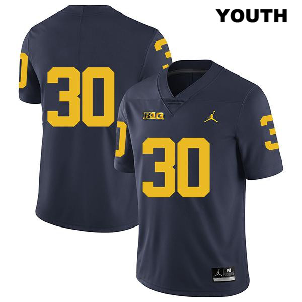 Michigan Wolverines Tyler Cochran Youth Stitched no. 30 Navy Jordan Legend Authentic College Football Jersey - No Name - Tyler Cochran Jersey