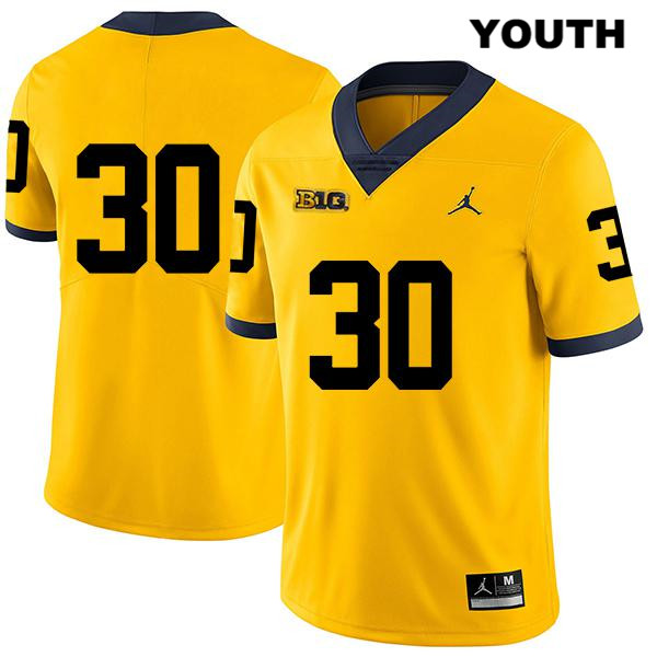 Michigan Wolverines Jordan Tyler Cochran Youth Stitched Legend no. 30 Yellow Authentic College Football Jersey - No Name - Tyler Cochran Jersey