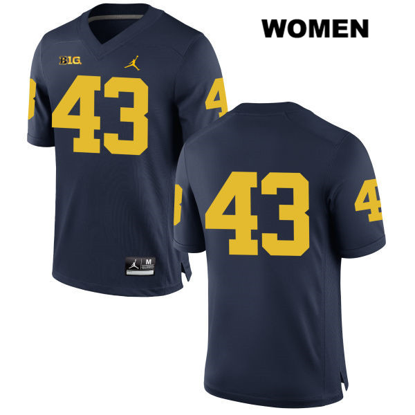 Michigan Wolverines Stitched Tyler Grosz Jordan Womens no. 43 Navy Authentic College Football Jersey - No Name - Tyler Grosz Jersey