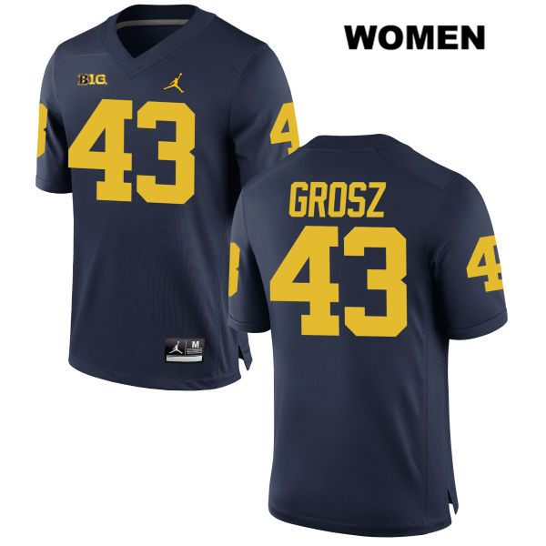 Jordan Michigan Wolverines Tyler Grosz Womens no. 43 Navy Stitched Authentic College Football Jersey - Tyler Grosz Jersey