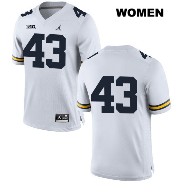 Michigan Wolverines Tyler Grosz Womens no. 43 White Jordan Stitched Authentic College Football Jersey - No Name - Tyler Grosz Jersey