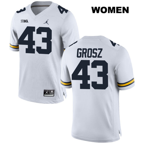 Michigan Wolverines Stitched Jordan Tyler Grosz Womens no. 43 White Authentic College Football Jersey - Tyler Grosz Jersey