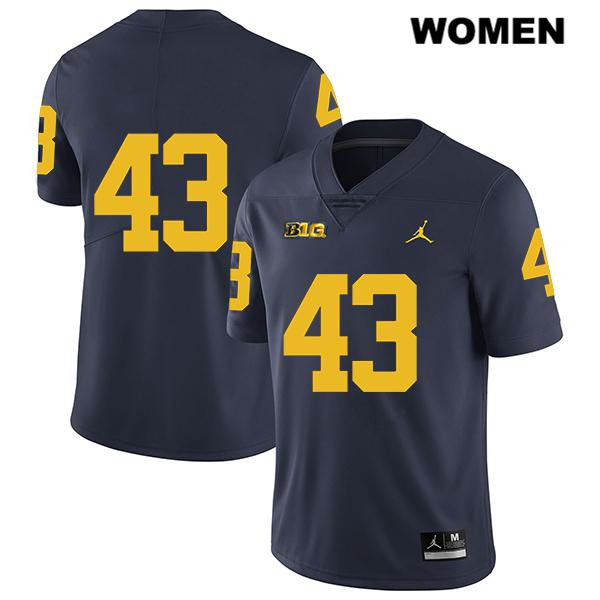 Stitched Michigan Wolverines Jordan Tyler Grosz Womens no. 43 Navy Legend Authentic College Football Jersey - No Name - Tyler Grosz Jersey