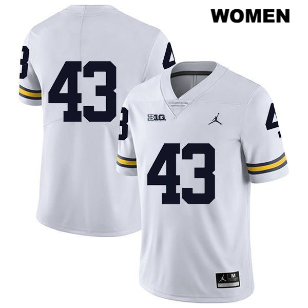 Michigan Wolverines Tyler Grosz Legend Womens no. 43 Jordan White Stitched Authentic College Football Jersey - No Name - Tyler Grosz Jersey